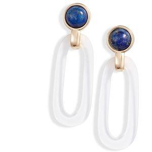 Halogen Lapis & Oval Drop Earrings
